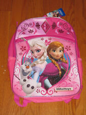 Disney Frozen Girl's Large Backpack - Pink with Silver Trim New