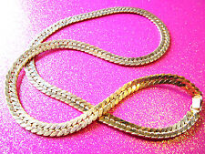 Large Gold Herringbone Necklace 28 Inches Long
