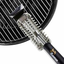 Renman Grill Brush Stainless Steel Bristle Free for Gas or Charcoal Grates