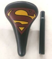 "16"" KIDS BMX SUPERMAN BICYCLE SEAT WITH SEAT POST 25.4MM , 7 7/8"" LONG BLACK"