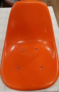 Herman Miller Eames MCM Orange Side Chair Fiberglass Shell No legs Imperfections