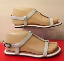 New Clarks Size UK 3.5 (36.5) White Leather Flat Strappy Open Toe Buckle Samdals