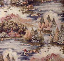 FIELD & STREAM ANGLER UPHOLSTERY FABRIC MOUNTAIN LODGE FISHING RUSTIC TAPESTRY