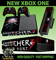 XBOX ONE CONSOLE STICKER THE WITCHER WILD HUNT LOGO WOLF SKIN & 2 PAD SKINS