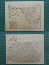 Maryland Virginia West Virginia Vintage Original Antique 1892 World Atlas Map
