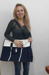 Ralph Lauren Polo Fragrances Bag Blue Duffle Weekend Handles Strap Shoulder