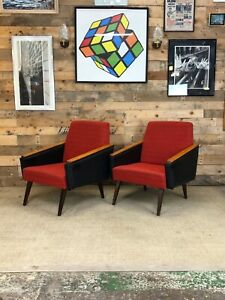Mid Century, Retro, Vintage, Czech Club Chairs in Red and Black Vinyl, 1960s