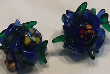Glass Beads Cluster Around Center Bead Vtg '60's Earrings Fish Whale Tail Art