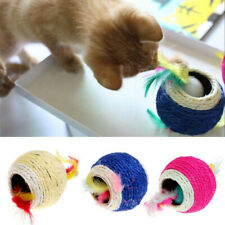 Sisal Rope Feather Ball Teaser Chew Play Toy Pet Gift Kitten Cat Interactive IY