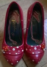 WOMEN'S IRREGULAR CHOICE RED MUSHROOM TOADSTOOL POLKA DOT SHOES SIZE 40 QUIRKY