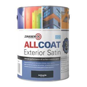 Zinsser Allcoat Exterior Satin (Water Based) Anthracite Grey RAL7016 5 Litre