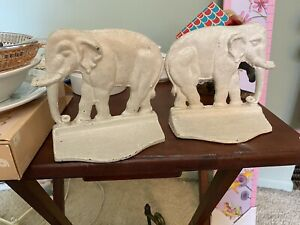 set of two cast-iron elephant bookends