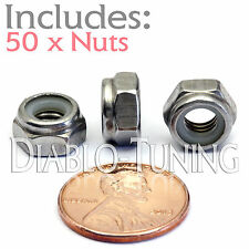 M6-1.0 / 6mm - Qty 50 - Nylon Insert Hex Lock Nut DIN 985 - A2 Stainless Steel