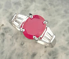 ENCHANTING! NATURAL GEM RED RUBY &white CZ SOLID SILIVER RING Size #5.5