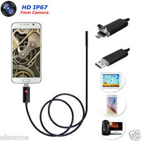 New 2 in 1 Android USB Endoscope Inspection 7mm 6 LED HD IP67 Waterproof Camera