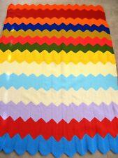 Vintage ? CROCHET AFGHAN BLANKET Throw 83 x 57 Chevron Rainbow ZIGZAG Homemade