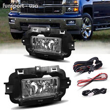 for 2014 2015 Chevy Silverado 1500 Clear Fog Lights Bumper Lamps w/Wiring+Switch