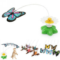 For Pet Cat Kitten Electric Rotating Butterfly Bird Rod Wire Cat Teaser Play Toy