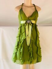 Bcbg Maxaria Size 0 Green Women's Frill Strap Dress