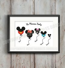 Disney Family Balloons - Minnie / Mickey Mouse - family A4 print - Personalised