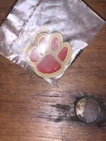 Vintage Gold/Red Enamel Bear Paw Lapel Hat Pin
