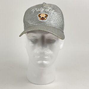 Pug Life Girls Silver Glitter Embroidered Snapback Baseball Hat Cap by JoyPixels