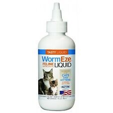 Cat Kitten Feline WormEze Large Roundworms Tasty Liquid Wormer Dewormer 4 oz