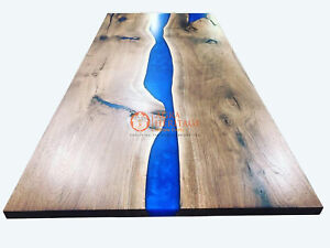 Epoxy Blue River Dining Table Top, Epoxy Resin Walnut Dinning Tables