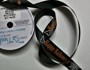 1 Spool Halloween Ribbon Black/Orange/White 5/8 In x 9 ft 100% Polyester  New