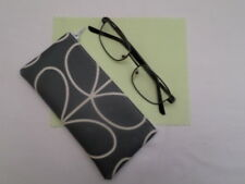 HANDMADE OILCLOTH GLASSES SPECS CASE - ORLA KIELY COOL GREY LINEAR STEM FABRIC