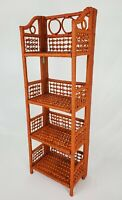 Vintage Bamboo Rattan Folding Book Shelf Display Stand Boho Mid-Century