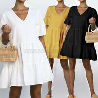 UK Womens Summer Ruffle Sleeve Smock Shirt Holiday Beach Dress V Neck Sundress