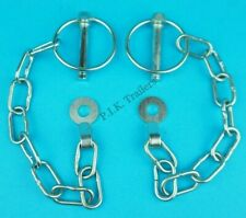 2 x Lynch Pin with TAB WASHER & Chain 8mm Pin Trailer Horse Box Van Tail Gate