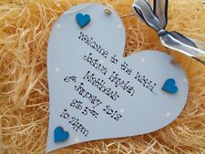 Newborn Baby Welcome To The World Wooden Heart Plaque Keepsake Gift