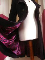 Ladies M&S corduroy COAT JACKET 16 14 long purple boho fit flare military hippy