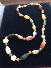 brown/green/natural colours glass bead necklace
