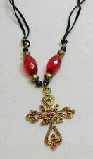 FILIGREE STYLE GOLD COLOR CROSS  NECKLACE BLACK CORD - RHINESTONES, PINK BEADS
