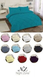 Pintuck Pleated Alexandra Duvet Cover Bedding Set With Pillow Case single double