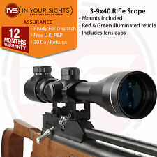 Pistolet à air 3-9x40 Rifle Scope/lumineux Retice portée, y compris queue d'aronde Mounts