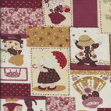 Fat trimestre Sunbonnet Sue lin Look Coton quilting fabric-50 x 55 cm-vin rouge