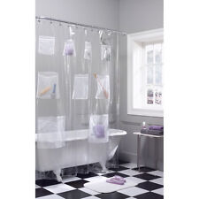 PEVA Vinyl Shower Curtain Liner With Mesh Pockets - Assorted Colors
