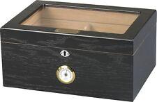 Quality Importers - Black Oak Milano Glasstop Cigar Humidor 75-100CT - HUM-75BLK