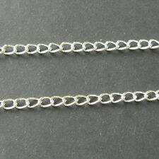 10 METRES SILVER PLATED CURB CHAIN FINDING 5 x 3mm - LEAD & NICKEL FREE