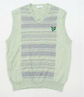 Lyle & Scott Mens Size L Cotton Striped Green Jumper