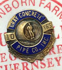 10 Years Employee Service Lapel Pin New listing Vintage Enamel Gray Concrete Pipe Co.