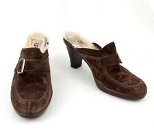 Ugg Brown Suede Leather Clogs 8.5 Mules Heels Fleece Lined Insoles EU 39
