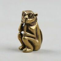 34MM Chinese Fengshui Bronze 12 Zodiac Animal Monkey Mini Amulet Pendant Statue