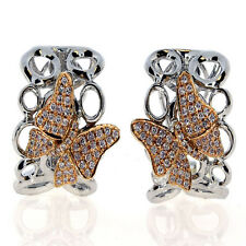 0.63ct Fancy Pink Diamonds Earrings 18K All Natural 10 Grams Real Gold Butterfly