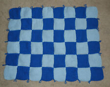 HAND KNITTED BLANKET - LIBERTY BLUE AND LIGHT BLUE COLOR - CHECKERBOARD PATTERN