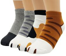 Women's Cute Kitty Cat Paws Socks with Paw Prints on Toes, Ankle 4 Pair Set New